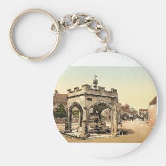 La cruz, Cheddar, vintage Photochrom de Inglaterra Llavero Redondo Tipo Pin