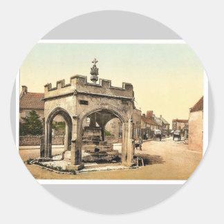 La cruz, Cheddar, vintage Photochrom de Inglaterra Pegatina Redonda