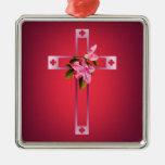 La cruz con la azalea florece Pascua Adorno De Reyes