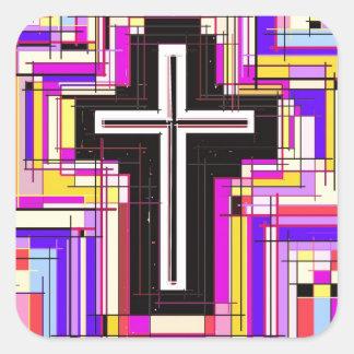 La cruz cristiana religiosa pegatina cuadrada
