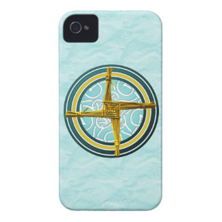 La cruz de Brigid amarillo en azul iPhone 4 Cobertura