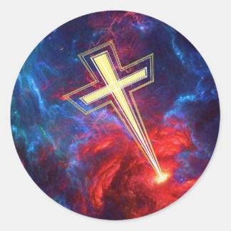 La cruz de Chrisian,… fuera de los cielos Pegatina Redonda
