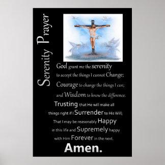 La cruz de Jesús del rezo de la serenidad Poster