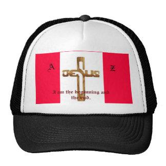 La cruz de madera de Jesús, A, Z, soy el principio Gorra