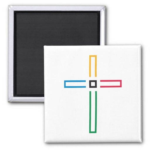 La cruz del evangelio imán cuadrado