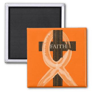 La cruz del superviviente anaranjado de la leucemi imanes de nevera