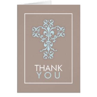 La cruz dulce y moderna en azul le agradece cardar tarjeta pequeña