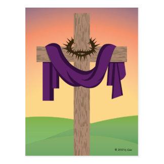 La cruz en la salida del sol tarjeta postal