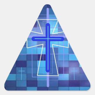 La cruz en las baldosas cerámicas pegatina triangular