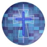 La cruz en las baldosas cerámicas platos