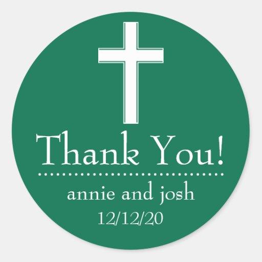 La cruz religiosa le agradece las etiquetas pegatina redonda