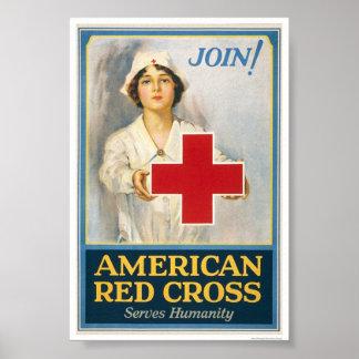 La Cruz Roja americana sirve humanidad Póster