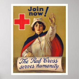 La Cruz Roja sirve humanidad - ahora únase a Póster