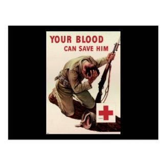 La Cruz Roja su sangre puede ahorrarlo Postal
