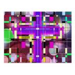 La cruz santa del vitral tarjeta postal