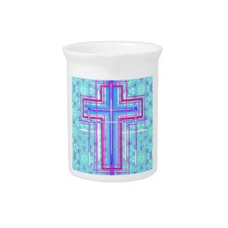 La cruz santa… en luces chispeantes jarra para bebida