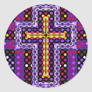 La cruz santa pegatina redonda