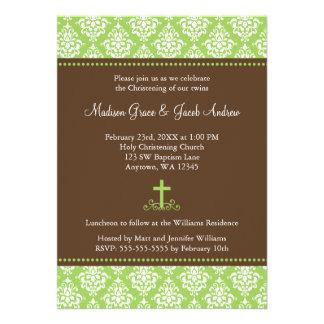 La cruz verde del damasco de Brown hermana bautizo Anuncios Personalizados
