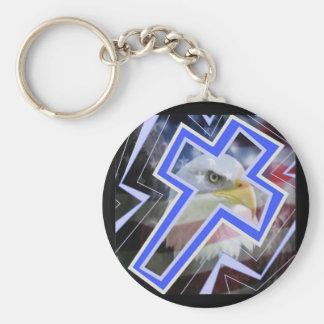 La cruz y los símbolos americanos llavero redondo tipo pin