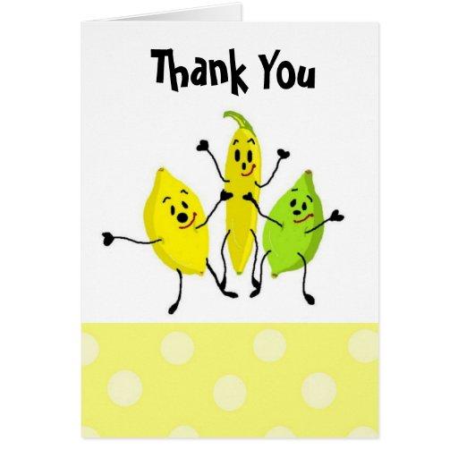 La cuadrilla divertida de la fruta le agradece tarjeta de felicitación