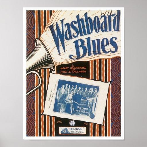 La cubierta del cancionero del vintage de los azul póster