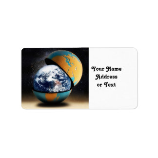 La cubierta protectora de la tierra etiquetas de dirección