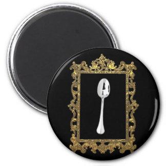 La cuchara enmarcada imán redondo 5 cm