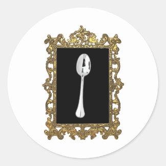 La cuchara enmarcada pegatina redonda