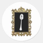 La cuchara enmarcada pegatinas redondas
