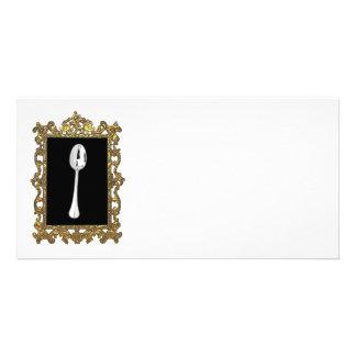 La cuchara enmarcada tarjetas fotográficas