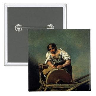 La Cuchillo-Amoladora, c.1808-12 Pin Cuadrada 5 Cm