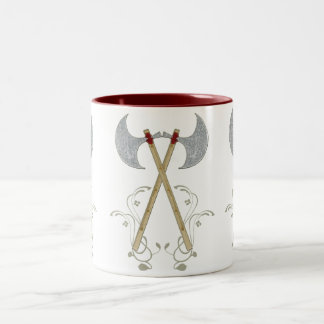 la cuerda roja del hacha medieval de la batalla taza de café de dos colores