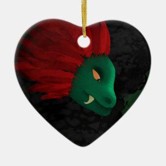 La cueva adorno navideño de cerámica en forma de corazón
