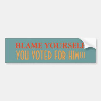 La culpa usted mismo, usted votó por él pegatina para auto