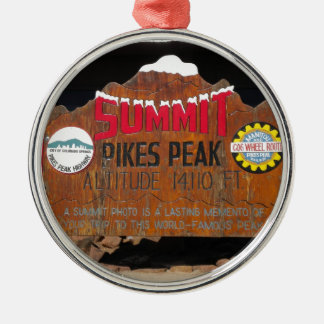 La cumbre máxima de Pike, Colorado Adorno Redondo Plateado