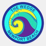La cuña, playa de Newport Pegatina Redonda