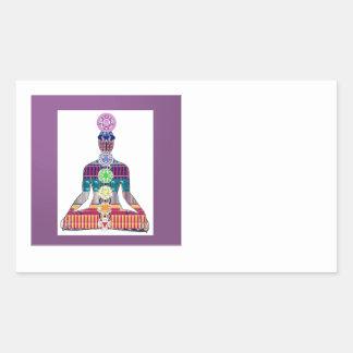La cura espiritual de la meditación de la yoga de rectangular pegatinas
