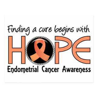 La curación comienza con el cáncer endometrial de tarjetas postales