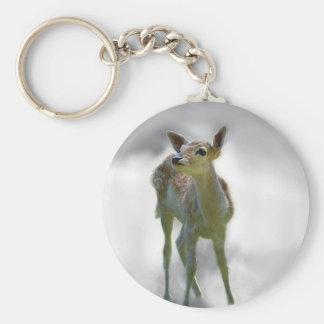 La curiosidad del ciervo del bebé llavero redondo tipo chapa
