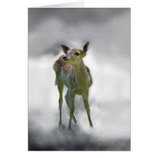 La curiosidad del ciervo del bebé tarjeta de felicitación