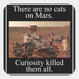 La curiosidad Rover de la NASA y ningunos gatos en Calcomanías Cuadradas