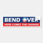 La curva aquí viene el cambio - Obama Pegatina De Parachoque