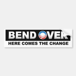La curva aquí viene el cambio - Obama Pegatina Para Auto