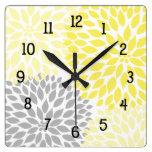 La dalia moderna florece gris amarillo y gris reloj de pared