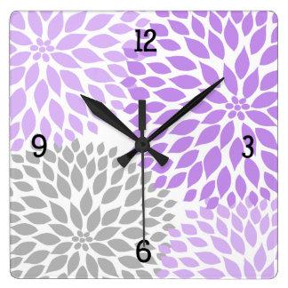 La dalia moderna florece la lavanda púrpura #2 reloj cuadrado