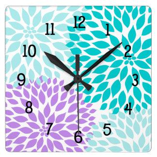 La dalia moderna florece púrpura de la lavanda de reloj cuadrado