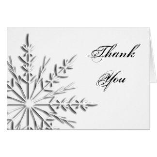 La dama de honor del copo de nieve le agradece tar tarjeta