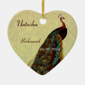 La dama de honor del oro le agradece pavo real del adorno navideño de cerámica en forma de corazón