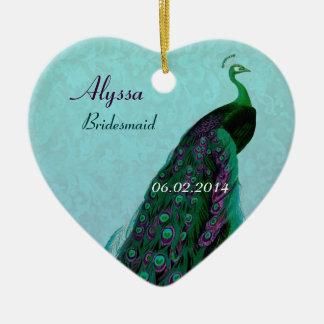 La dama de honor del pavo real le agradece favor adorno navideño de cerámica en forma de corazón