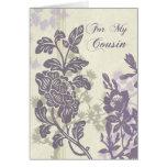 La dama de honor floral púrpura del primo le agrad felicitacion